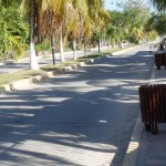 litter bins in a street in Bacalar in Mexico