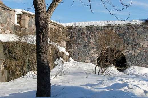 inside the Suomenlinna fortress in Helsinki Finland under the snow