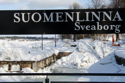 arriving at the Suomenlinna fortress, UNESCO world heritage site, but... under the snow