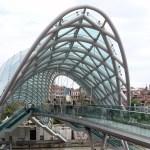 Bridge of Peace in Tbilisi capital of Georgia, made of glass and steel
