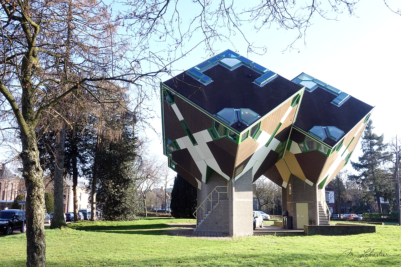 inhabited cube houses designed by architect Piet Blom around 1977 before building the ones in Rotterdam the Netherlands