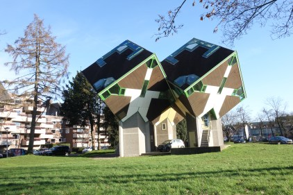 inhabited cube houses designed by dutch architect Piet Blom around 1977 before building the ones in Rotterdam