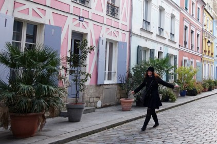 walking in rue Cremieux in november 2019 in Paris, the most colorful street of the french capital
