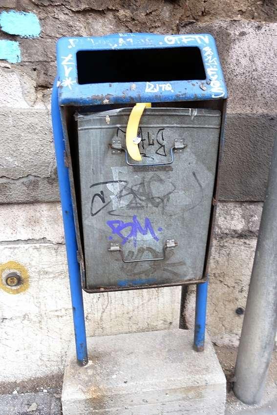 an elevated litter bin in a street of Sarajevo, Bosnia Herzegovina