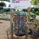 a colored litter bin for a clean city in Maputo Mozambique