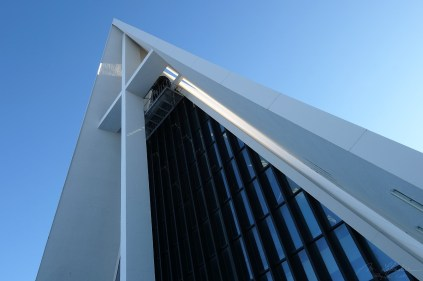 glass panels of the entrance of the arctic cathedral in Tromso Norway