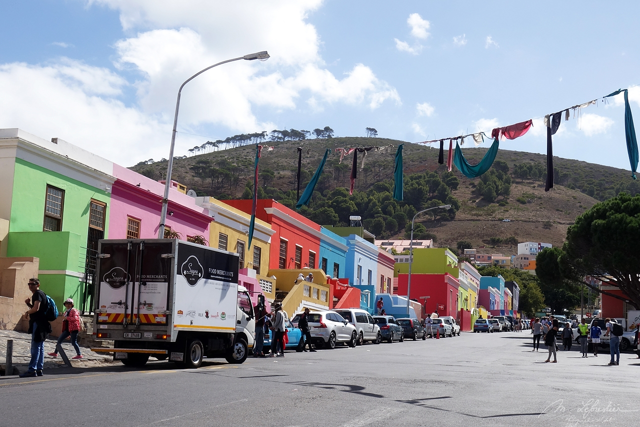 walking in Bo-Kaap Cape Town on a very crowded day.
