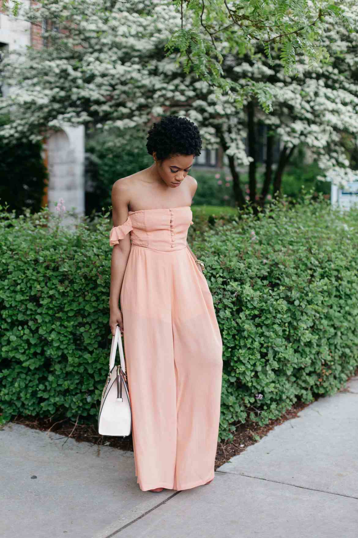 Peachy pocket strapless jumpsuit