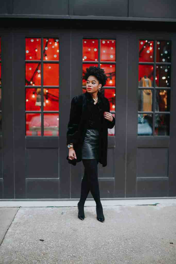 Black faux fur and leather skirt 3