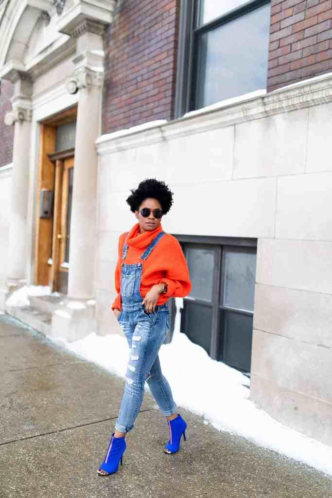 Orange H&M Sweater and Modcloth Overalls 3