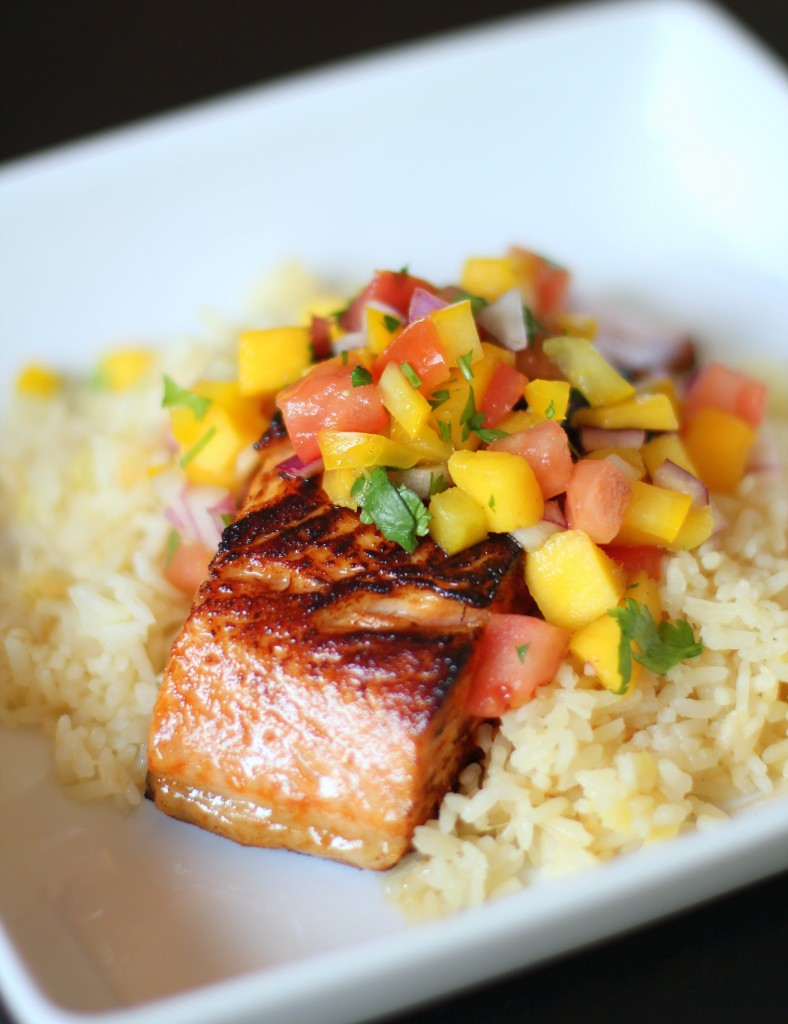 Recipe Highlight: Slow-Roasted Chipotle Salmon with Pineapple Rice and Mango Salsa