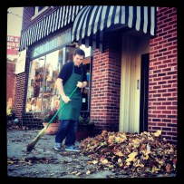 My run view 11/9/13 - Matt sweeping leaves at Cupini's in Westport, Kansas City, Mo.