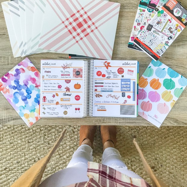 So many fun fall and autumn planner stickers in the Happy Planner books