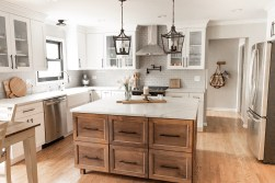 Total kitchen renovation from 1980's to now. Modern farmhouse with woods and whites