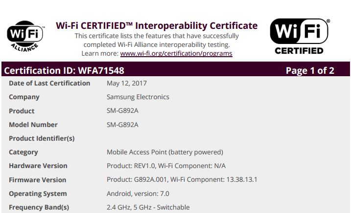 AT&T Galaxy S8 Active (SM-G892A) Gets Certified By WFA