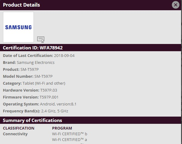 Samsung Galaxy Tab A 10.1 (2018) for Sprint receives WiFi certification