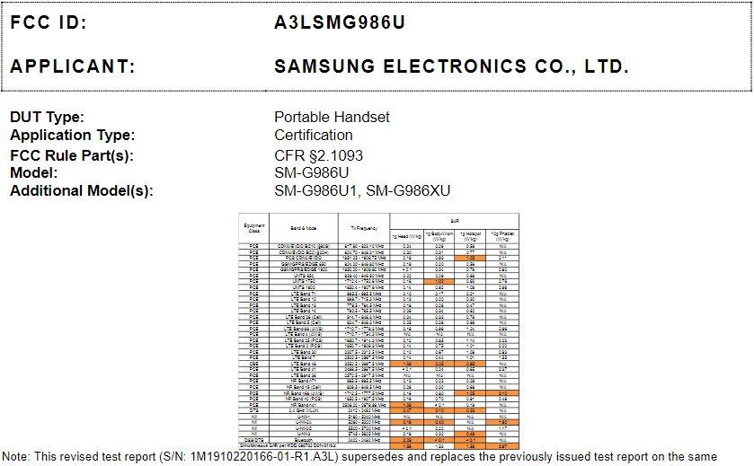 Samsung Galaxy S20+ 5G (SM-G986U) get FCC approval