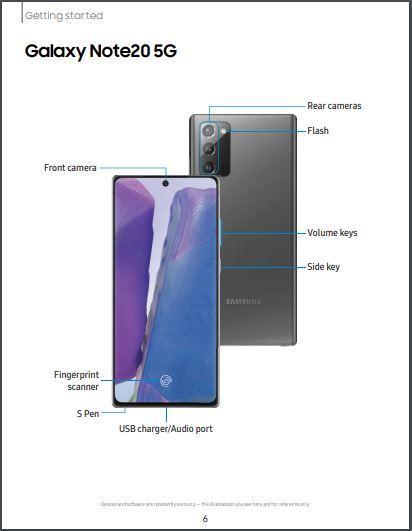 ATT Galaxy Note 20 5G SM-N981U User Manual / Guide