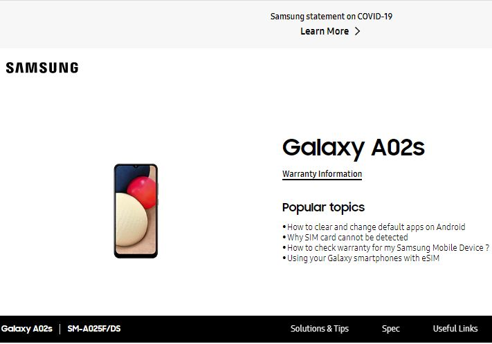 Samsung Galaxy A02s User Manual / Guide