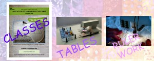 PIcture of 3 categories for shopping; classes, tables, ruler work