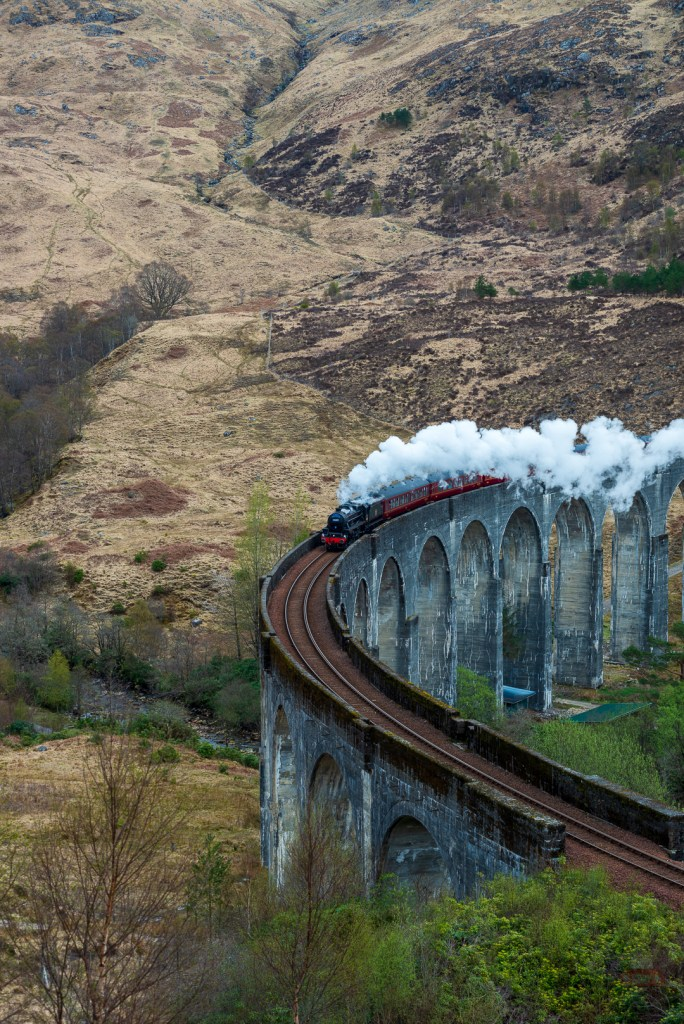 The Jacobite Steam Train on its way to Mallaig through the Scottish Highlands