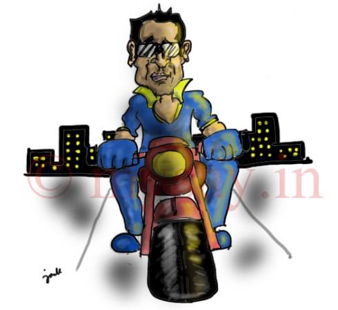 dhoni cartoon,dhoni riding bike,