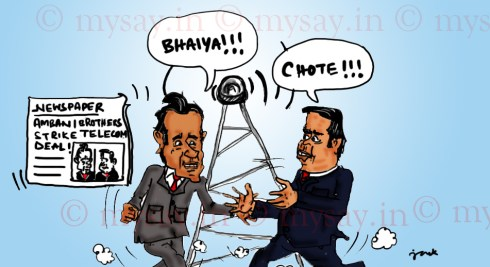 mukesh ambani cartoon image,anil ambani cartoon image,