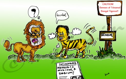 mamata banerjee cartoon image,narendra modi cartoon image,