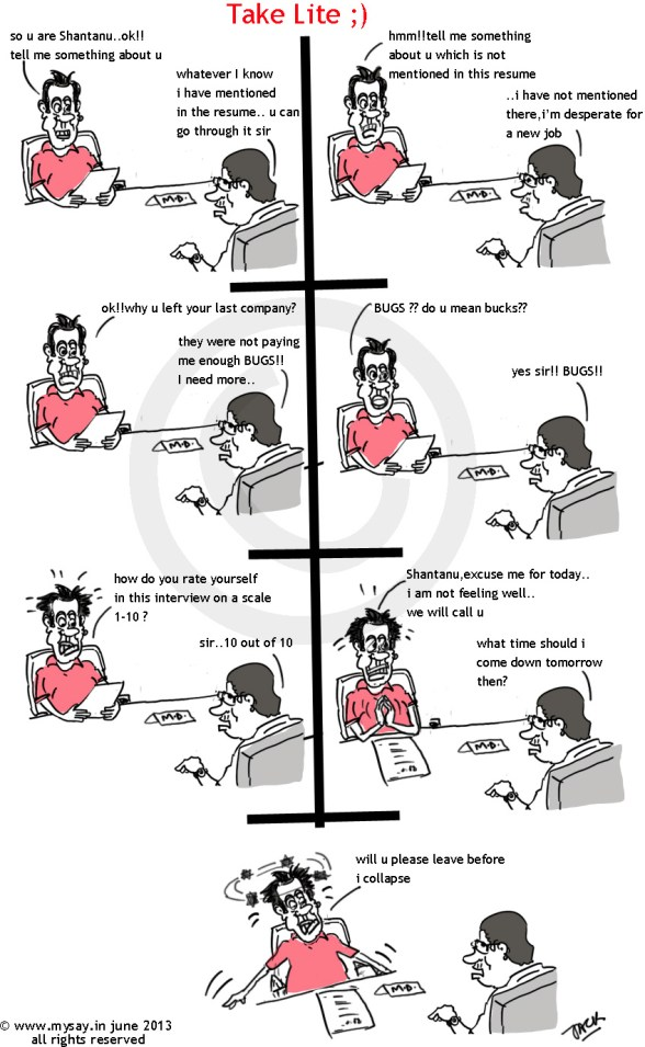 interview cartoon,callcenter interview,mysay.in,takelite,comic strip,indian web comic
