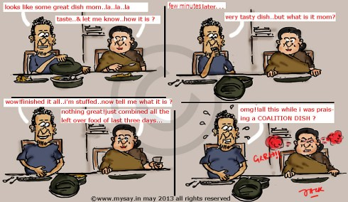 coalition govt,political cartoon,mysay.in