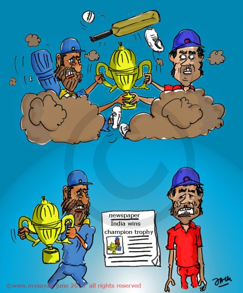dhoni cartoon,alastair cook cartoon,cricket cartoons,mysay.in,champions trophy,