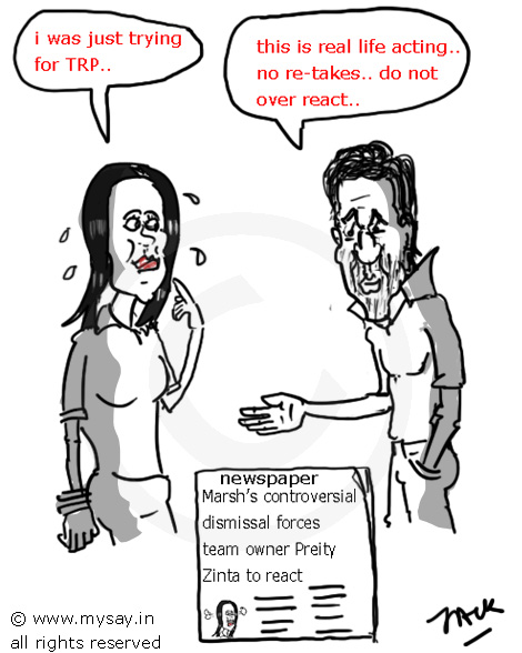 preity zinta cartoon,srk cartoon,ipl controversy,shahrukh khan cartoon,mysay.in,cricket cartoons