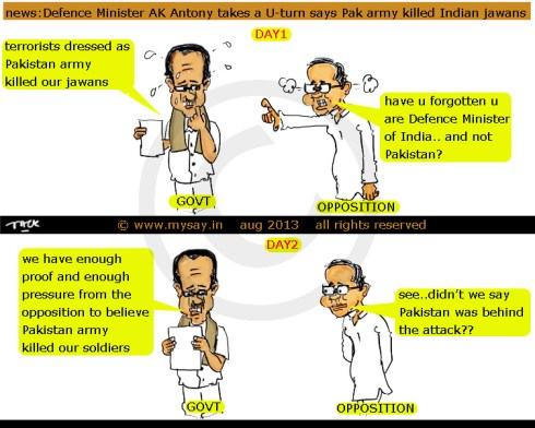 defence minister,ak antony cartoon,arun jaitley cartoon,killing of 5 indian jawans by pakitsan army,political cartoon,mysay.in