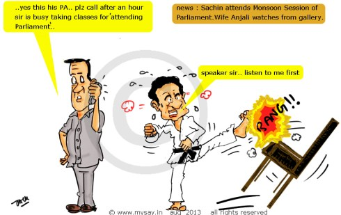 sachin tendulkar cartoon,parliament cartoon,political cartoon sachin in parliament,mysay.in