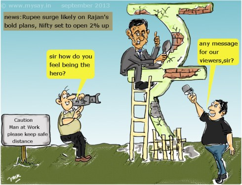 raghuram rajan cartoon picture image,indian economy cartoon,weakening rupee cartoon,inr cartoon,media cartoon,mysay.in,rbi