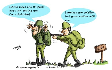 India pakistan LoC jokes,pakistani intrusion,pakistan army funny jokes,LoC cartoon image,mysay.in,