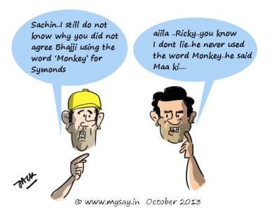 Ricky Ponting cartoon Sachin Tendulkar cartoon,monkey gate scandal,cricket cartoons,