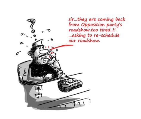 2014 election cartoons,roadshow cartoon,rahul gandhi roashow,modi roadshow,
