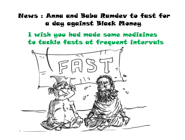 anna and baba ramdev cartoon
