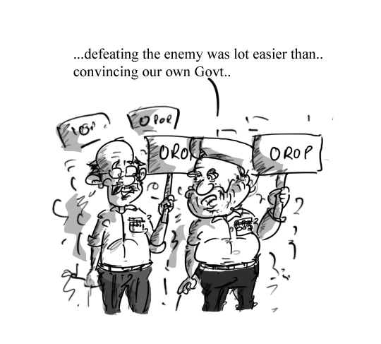 cartoon on orop, one rank one pension,