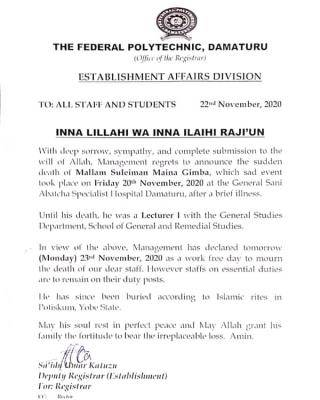 Federal polytechnic damaturu notice to staff and students