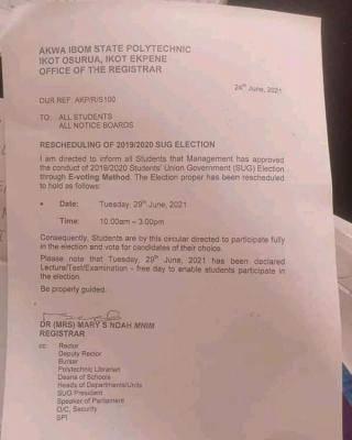 Akwa Ibom Polytechnic reschedules SUG Election, 2019/2020