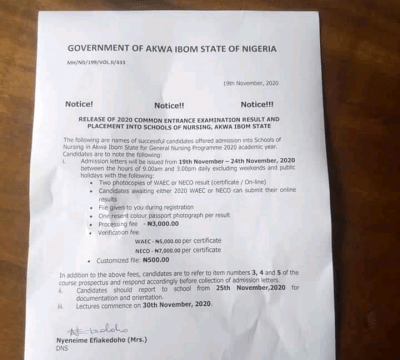 School of Nursing, Akwa IbomState notice to 2020 admitted candidates