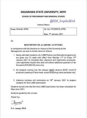 NSUK school of preliminary studies resumption date