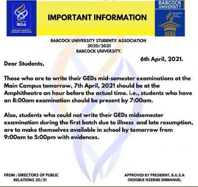 Babcock University Students' Association notice to students on GEDs mid semester exam