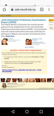 OAU supplementary Pre-Degree and JUPEB entrance exams, 2020/2021 session