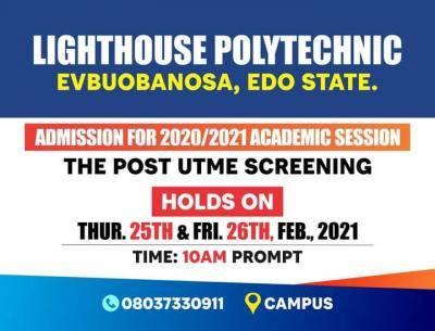 Lighthouse Polytechnic Post-UTME screening for 2020/2021 session