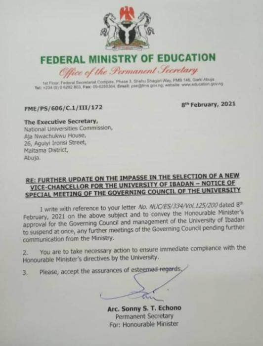 UI Governing Council meetings suspended by the FG