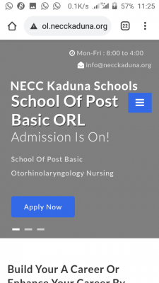 NECC Kaduna Post Basic ORL/ENT Nursing Form 2020/2021