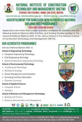 National Institute of construction Technology, Uromi ND admission, 2020/2021